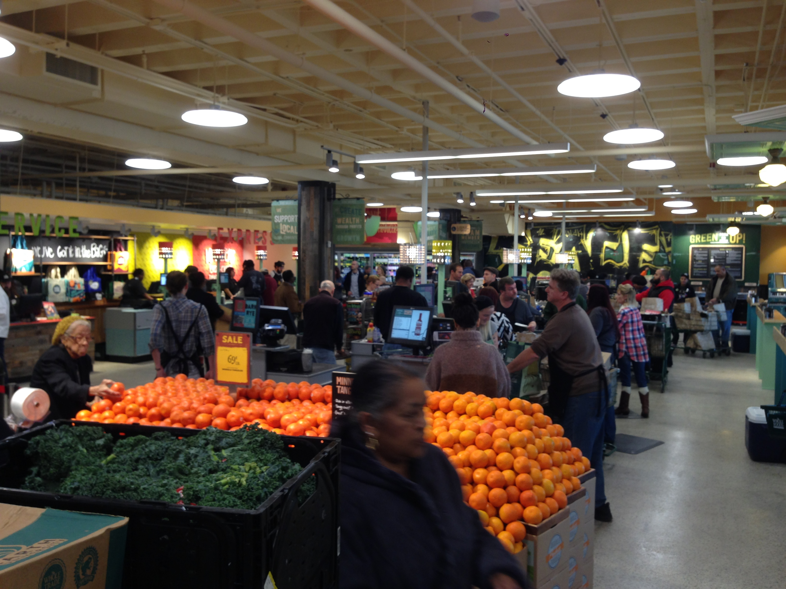 Produce displays and check-out stands at the new Whole Foods Market.